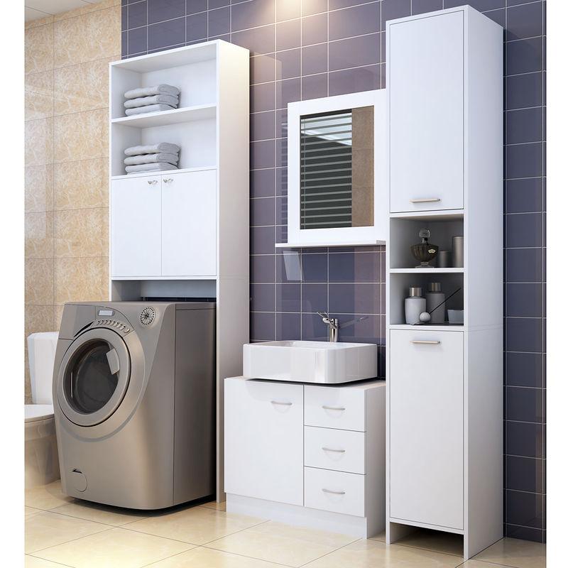Deuba Badezimmerschrank für Waschmaschine Waschmaschinenschrank Badschrank  Badhochschrank Badregal 195 x 63 x 20 cm weiß
