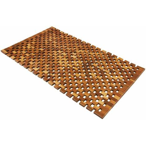 DEUBA Badvorleger Badematte Badvorleger Holz | 80 x 50 cm | FSC®-zertifiziertes Akazienholz | rutschhemmende Gummistopper