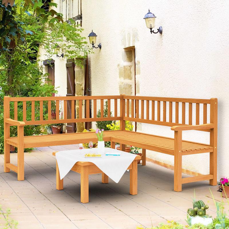 Deuba Banco De Esquina De Madera De Eucalipto 145x145cm Mueble Con Respaldo Certificado Fsc Para Jardín Exterior Terraza