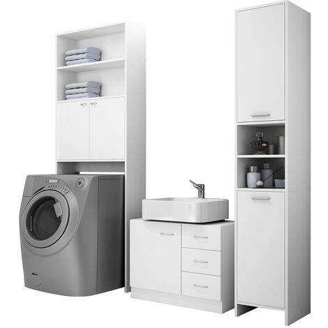 "main image of ""DEUBA® Bathroom Furniture Set Tall Cupboard Cabinet Base Floor Unit White New"""