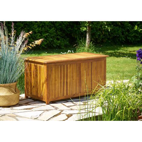 Deuba Baúl de almacenaje de madera de acacia con tapa y funda protectora al interior arcón para accesorios