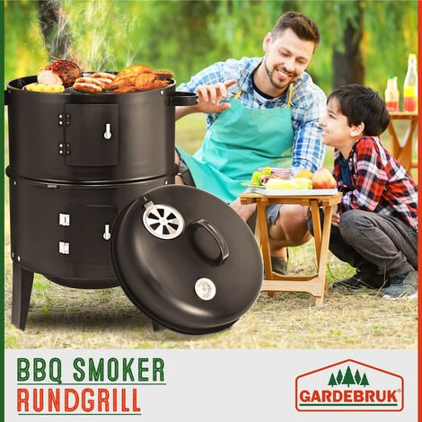 Deuba BBQ Smoker Upright Barrel Black Charcoal 3 in 1 Barbecue Grill Round Garden Outdoor Patio Camping Chromed Steel