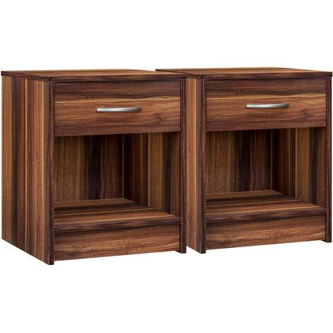 Deuba Bedside Table Nightstand Drawer End Table Bedroom Storage White Grey Oak Cherry Brown Set of 2 Tables