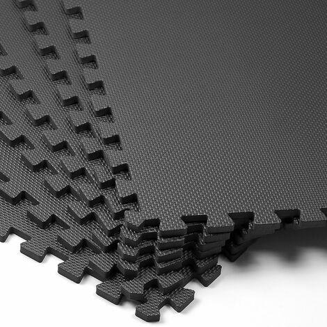 Deuba Bodenschutzmatten 6 Stück Unterlegmatte schwarz Trainingsmatten 2,38m² Puzzlematte Schutzmatte Fitness Geräte Matte