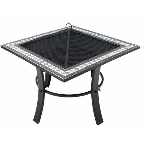 Deuba Brasero con mosaicos cuadrado 76 x 76 cm con tapadera y atizador mesa auxiliar parrilla exterior jardín terraza