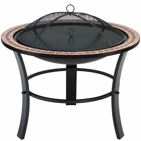 """Deuba Brasero con mosaicos """"Fuoco"""" redondo de 76 cm con tapadera y atizador mesa auxiliar mueble exterior jardín terraza"""