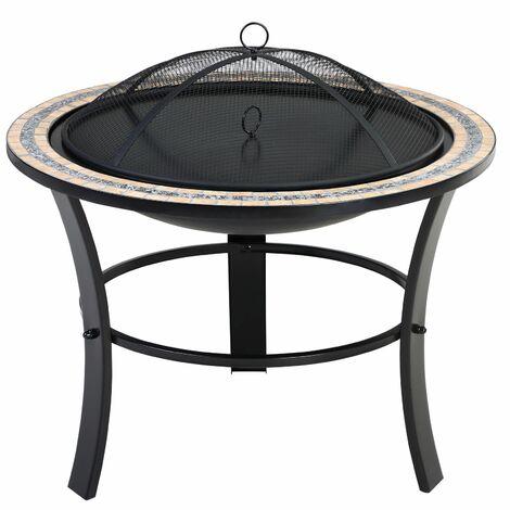 Deuba Brasero con mosaicos teselas redondo con tapadera y atizador mesa auxiliar parrilla exterior jardín terraza