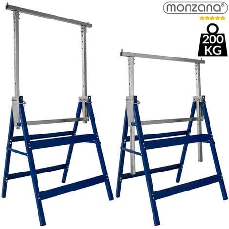 "main image of ""Deuba Caballetes de trabajo plegables Set de 2 Andamios con altura regulable 69x57x81cm 200kg"""