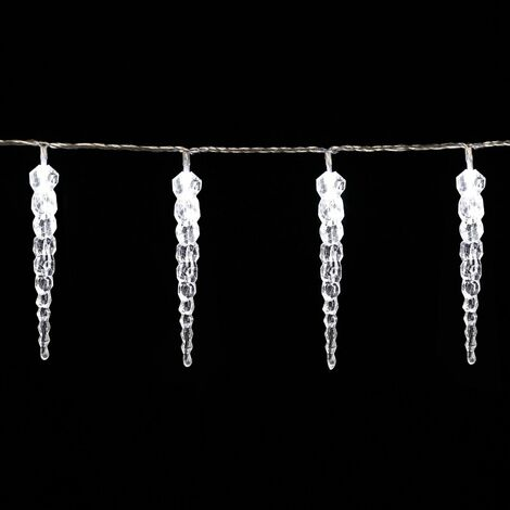 DEUBA Cadena de luces blanco Carambano Lluvia helada Interior y Exterior Luces navideñas