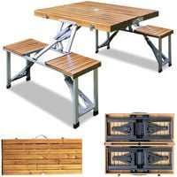 Deuba Camping Sitzgarnitur aus Alu Tischplatte aus Echtholz Kofferfunktion 4 Sitzplätze klappbar Campingtisch Campingmöbel Sitzgruppe Modellauswahl