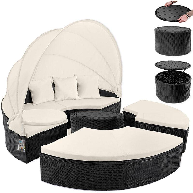 Bain de soleil Ø 185cm Ensemble ovale en polyrotin avec coussins pare-Soleil Salon de jardin lounge canapé Noir