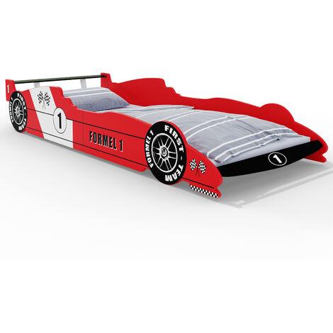 Deuba Car bed frame child single junior bed boys red car beds kids bedroom furniture racing car beds