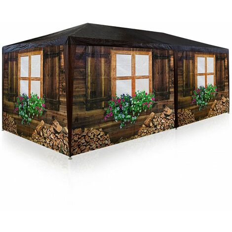Deuba ® Carpa diseño cabaña de madera | Pabellón Oktoberfest | 6 pareces laterales | Enrrollables | 6 pies anclables | Estructura de acero | 6x3 m | 12x piquetas | polietileno |