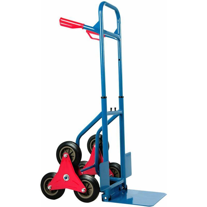 pro.tec Carro para Escaleras Carretilla de Mano 112 x 49 x 65 cm Carretilla de Carga Carrito de Transporte para equipajes Mudanza Capacidad de Carga hasta 150 kg Negro y Rojo