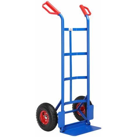 Deuba Carretilla plegable de mano Carro de transporte carga de hasta 200Kg con 2 Ruedas portátil mudanza Azul 45,5x116cm