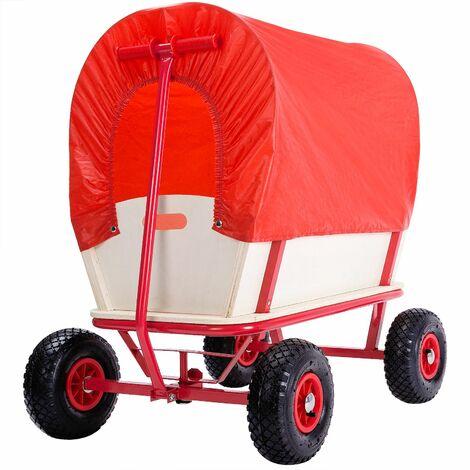 DEUBA® Carro de madera para jardín | Con techo 100% poliester | Capacidad de carga hasta 180kg