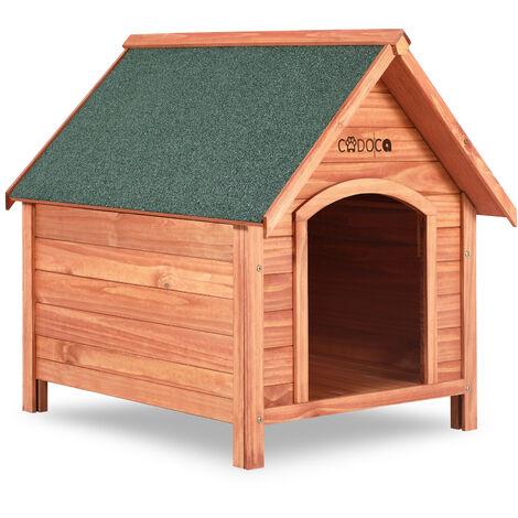 Deuba Caseta de perros de madera con tejado de superficie asfáltica se abre para limpieza protección casita mascota