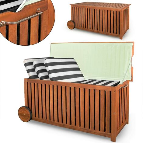 Deuba Cassapanca da giardino in legno di acacia 117x52x58,5cm Maniglia Ruote baule contenitore per cuscini esterno