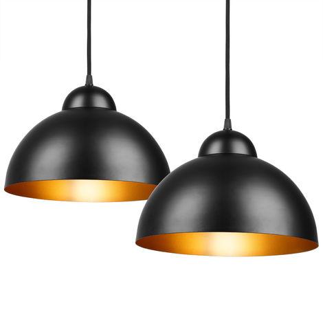 Deuba Ceiling Pendant Light Set 2x Gold Industrial Vintage Hanging Suspended Lamp Shade E27 Ø30cm
