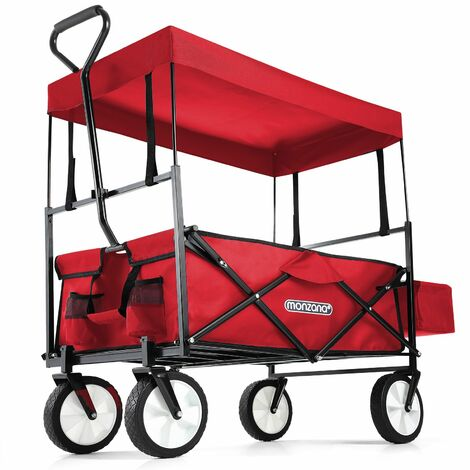 Deuba Chariot de transport pliable rouge avec toit amovible Chariot à main 120 x 60 x 95 cm Charrette pour jardin courses