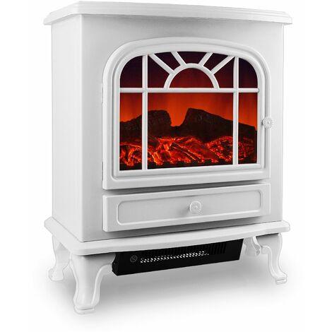 Deuba Chimenea eléctrica Blanca 2 niveles de calor 1000W o 2000W interior realista termoventilador 50,4x28,3x60 cm decoración