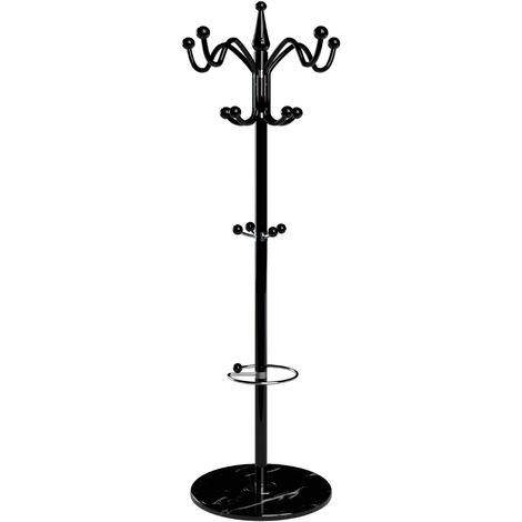 "main image of ""Deuba Coat Stand Metal Clothes Rack Hooks for Umbrella Hat Storage Bedroom Hallway Free Standing Heavy Kids White Black"""