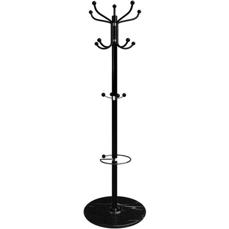 Deuba Coat Stand Metal Clothes Rack Hooks for Umbrella Hat Storage Bedroom Hallway Free Standing Heavy Kids White Black