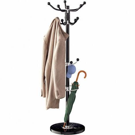 Deuba Coat Stand Metal Clothes Rack Hooks for Umbrella Hat Storage Bedroom Hallway Free Standing Heavy Kids White Black