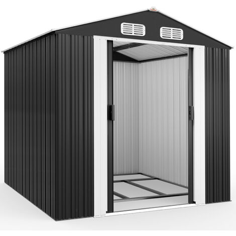 Deuba Cobertizo de metal de 5 m² Antracita con marco de suelo techo con aperturas aeración almacenaje exterior de jardín