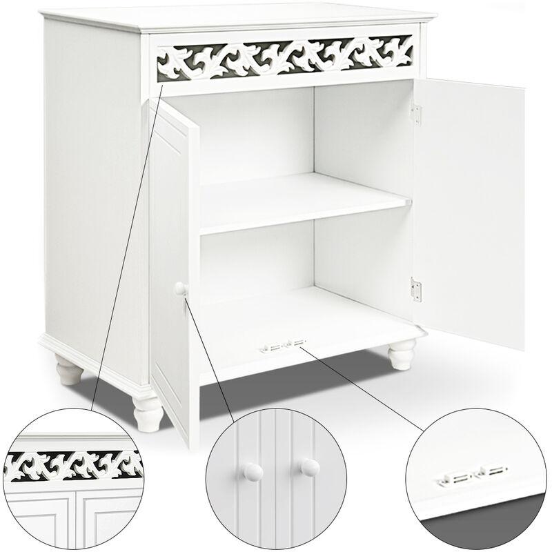 Deuba Cómoda de madera Blanca 2 estantes y 2 puertas con diseño rústico 76 x 65 x 35cm mueble de almacenaje y decoración