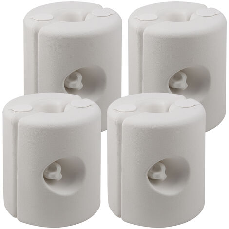 Deuba | Conjunto de 4 soportes de peso para pabellón | Pies estables | Resistentes a la intemperie | Color blanco |