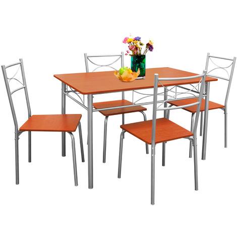 Deuba Conjunto de Cocina Paul de Color castaño Set de 1 Mesa y 4 sillas  Modernas y Repelente al Agua Comedor