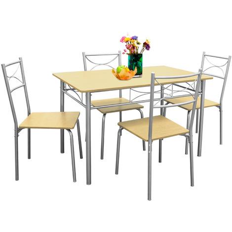 Deuba Conjunto de Cocina Paul de Color Haya Set de 1 Mesa y 4 sillas  Modernas y Repelente al Agua Comedor