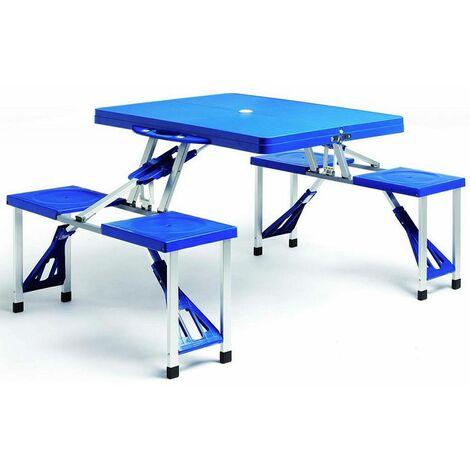 Deuba Conjunto de mesa y taburetes plegable para 4 personas Azul portátil Aluminio Plástico para camping jardín picnic