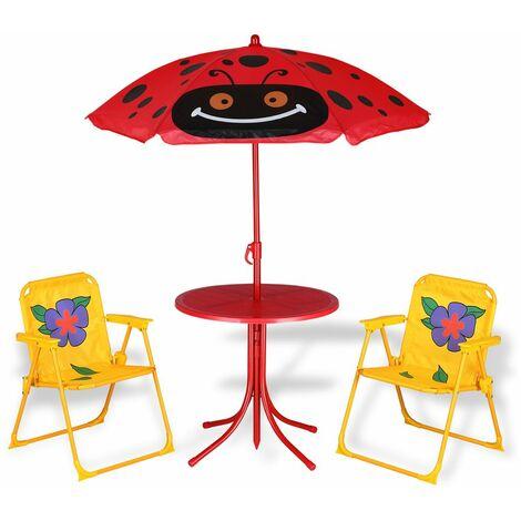 Deuba Conjunto de picnic para niños juego de 1 mesa y sillas con sombrilla protección UV exterior interior