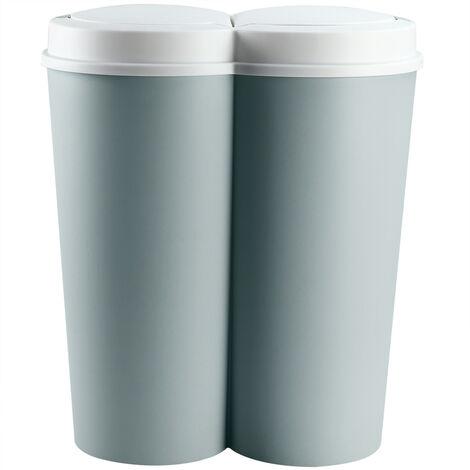 """main image of """"Cubo de basura Doble 50L 2x25L cubo de papel cubo de desechos balde de basura Basurero reciclaje"""""""