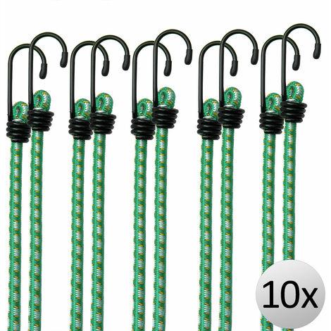Deuba Cuerda elástica Set de 10x extensores 61 cm tensor de equipaje | modelo a elegir | Ganchos de metal resistente | 4 medidas 30 – 95 cm | resistente al tiempo | Gancho de metal universal combinable |