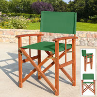 Deuba Directors Chair Wooden Folding Outdoor Garden Bistro Cafe Chair Oxford Fabric Seat Green