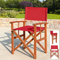 Deuba Directors Chair Wooden Folding Outdoor Garden Bistro Cafe Chair Oxford Fabric Seat Red