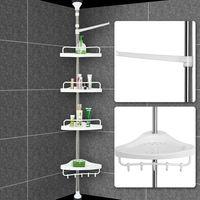 Deuba Eckregal mit 4 Ablagen | Badregal variabel verstellbar | Teleskopregal für Bad | 155-304 x 34 x 21cm | silber