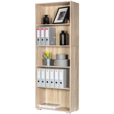 """Deuba Estantería biblioteca """"Vela"""" Blanco de 5 estantes 190 cm mueble de almacenaje oficina dormitorio salón casa"""