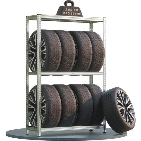 Deuba Estantería de almacenaje para neumáticos hasta 8 llantas 3 estantes carga máx de 795 kg de acero galvanizado