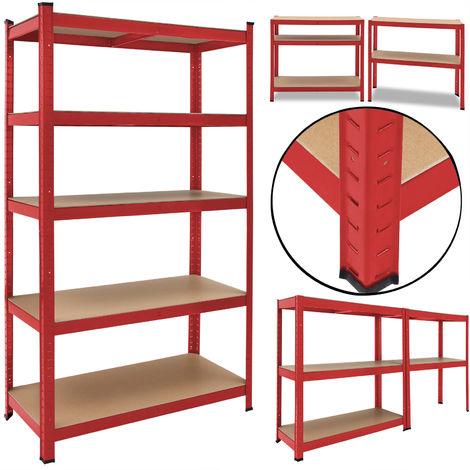Deuba Estanteria Metálica Rojo 5 niveles almacenamiento Carga máxima de 875kg - Taller bricolaje portaherramientas