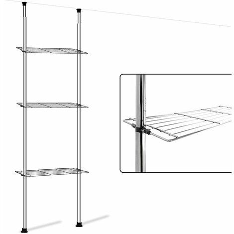"""main image of """"Deuba Estantería telescópica para baño con 3 estantes de acero altura ajustable 180-270 cm"""""""