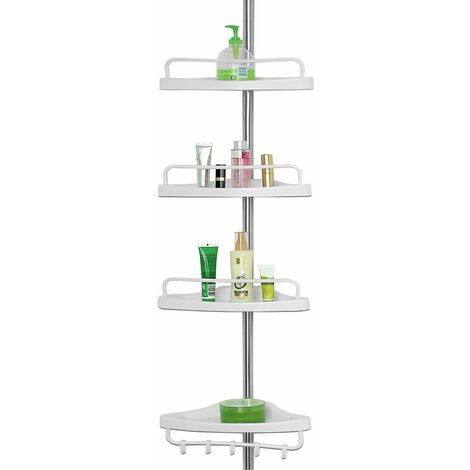 Deuba | Etagère d'angle • télescopique • 4 tablettes • blanc • 155 à 304 cm • avec porte-serviette | Salle de bain, douche, étagère réglable