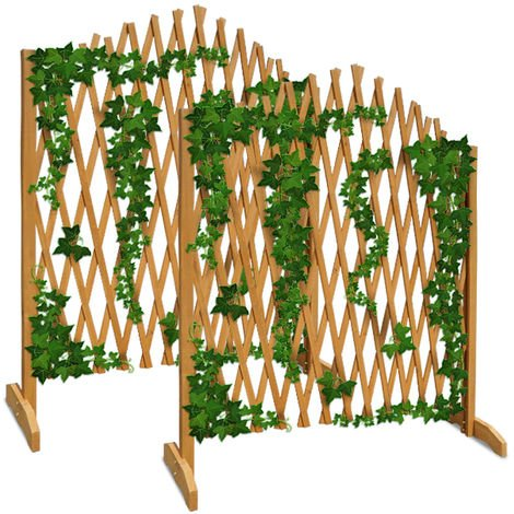 Deuba Expanding Trellis Fence 180x107cm Freestanding Wooden Garden Arched Plant Growing Support Screen (2x)