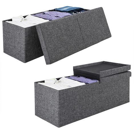 Sitzhocker Sitzbank Sitztruhe Aufbewahrungsbox Kunstleder 110 cm faltbar schwarz