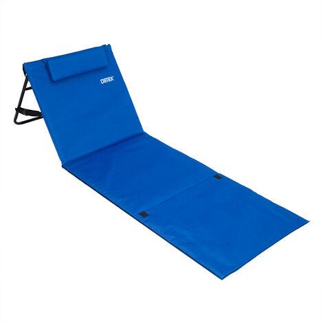 """Deuba Folding Beach Mat Portable Backrest Lightweight Outdoor Sun Lounger Bed Padded 63x21"""" Blue"""