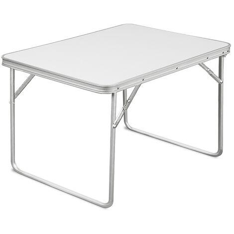 Deuba Folding Camping Table Transportable Garden Dining Tables 80 x 60 x 70 cm White
