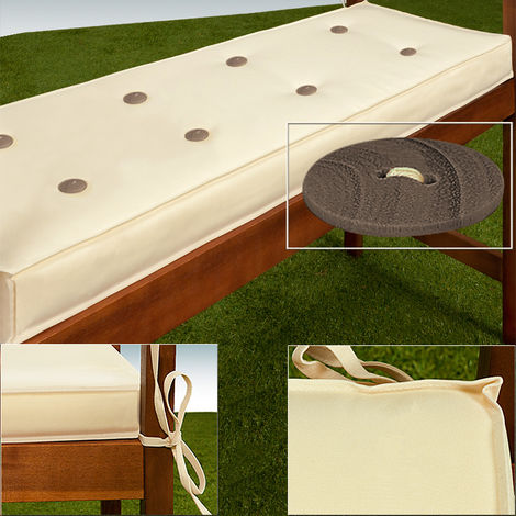 Deuba Garden Bench Cushion 3 Seater 145 x 45 cm Pad Cover Detex Water Repellent Ties 100% Polyester